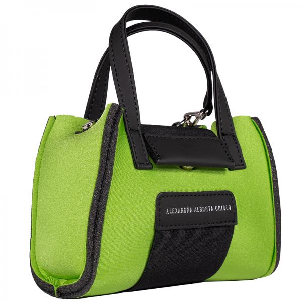 Lime Metal Micro Bag Alexandra Alberta Chiolo_Tre_Quarti